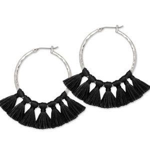Jewelry - Silk Tassels on Silver Hammered Hoops, NWT